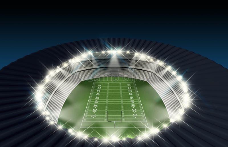 Νύχτα γηπέδου ποδοσφαίρου απεικόνιση αποθεμάτων