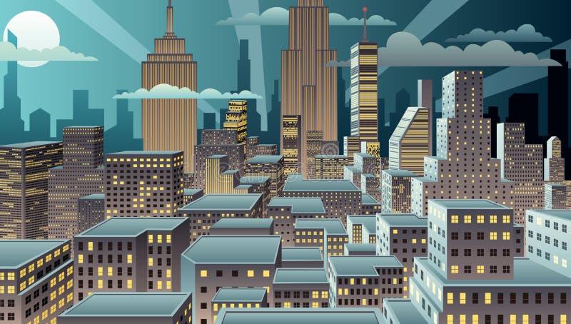 Νύχτα εικονικής παράστασης πόλης ελεύθερη απεικόνιση δικαιώματος
