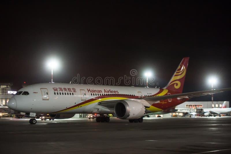 Νύχτα - εργασία στο διεθνή αερολιμένα Pulkovo στοκ φωτογραφίες
