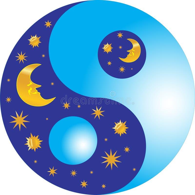 νύχτα ημέρας yang yin απεικόνιση αποθεμάτων