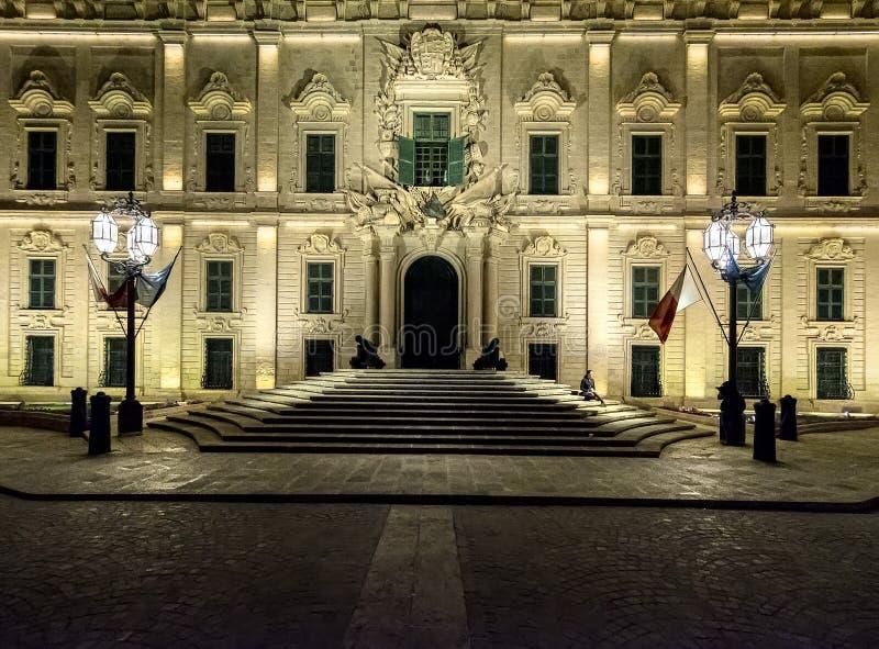 Νύχτα Παλάτια Valletta Μάλτα στοκ εικόνα