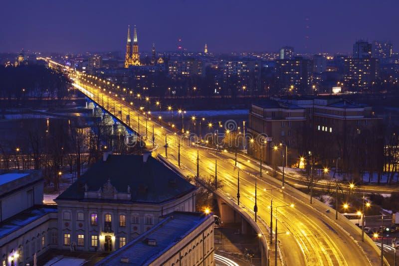 νύχτα Πολωνία Βαρσοβία στοκ φωτογραφίες με δικαίωμα ελεύθερης χρήσης