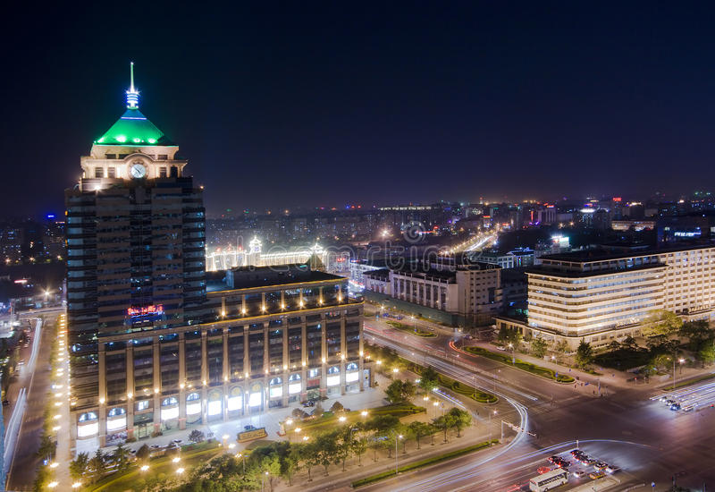 νύχτα πόλεων του Πεκίνου στοκ φωτογραφία με δικαίωμα ελεύθερης χρήσης