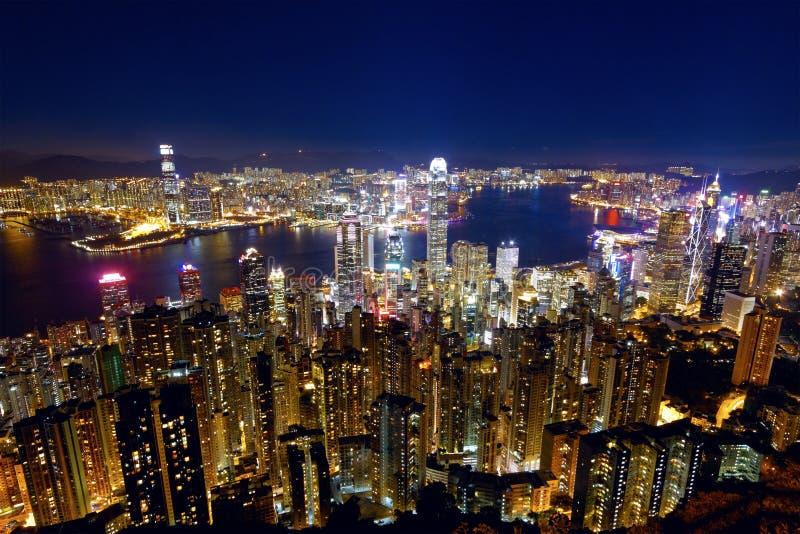 Νύχτα πόλεων του Χογκ Κογκ στοκ εικόνα