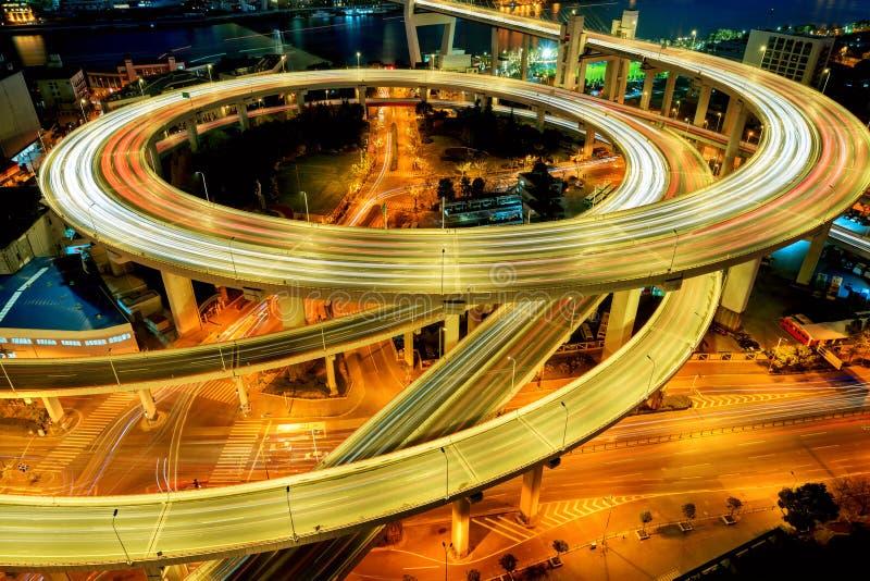 νύχτα Σαγγάη nanpu της Κίνας γεφυρών στοκ φωτογραφία με δικαίωμα ελεύθερης χρήσης
