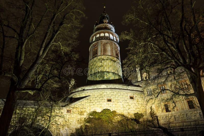 Νύχτα σε Cesky Krumlov cesky τσεχική πόλης όψη δημοκρατιών krumlov μεσαιωνική παλαιά στοκ φωτογραφία με δικαίωμα ελεύθερης χρήσης