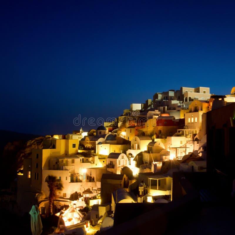 Νύχτα σε Santorini στοκ εικόνες