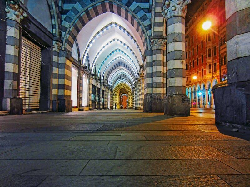 Νύχτα στη Γένοβα στοκ εικόνες με δικαίωμα ελεύθερης χρήσης
