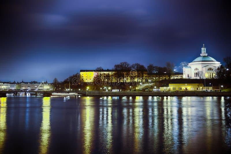 νύχτα Στοκχόλμη στοκ εικόνες με δικαίωμα ελεύθερης χρήσης