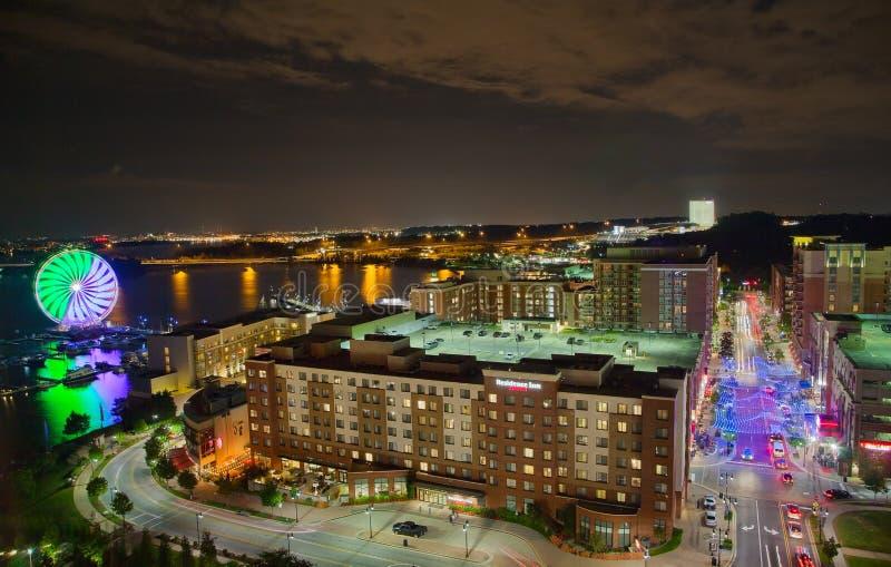 Νύχτα στο εθνικό λιμάνι, Μέρυλαντ, ΗΠΑ στοκ εικόνες