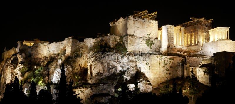 νύχτα της Αθήνας ακρόπολη Ελλάδα στοκ εικόνες