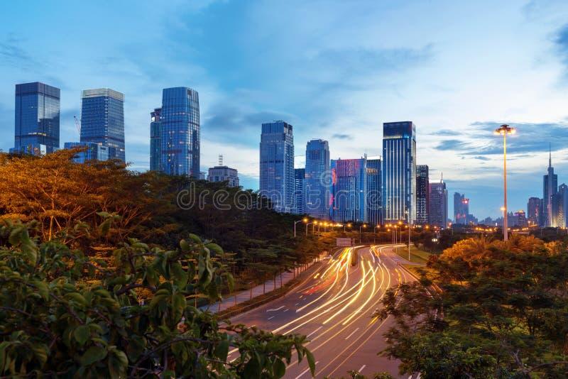 Νύχτα της Κίνας Shenzhen στοκ φωτογραφίες
