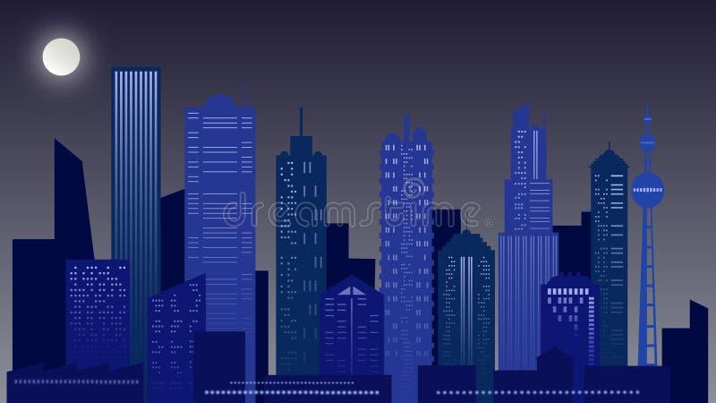 νύχτα τοπίων αστική Ουρανοξύστης στα μπλε χρώματα στοκ φωτογραφίες με δικαίωμα ελεύθερης χρήσης