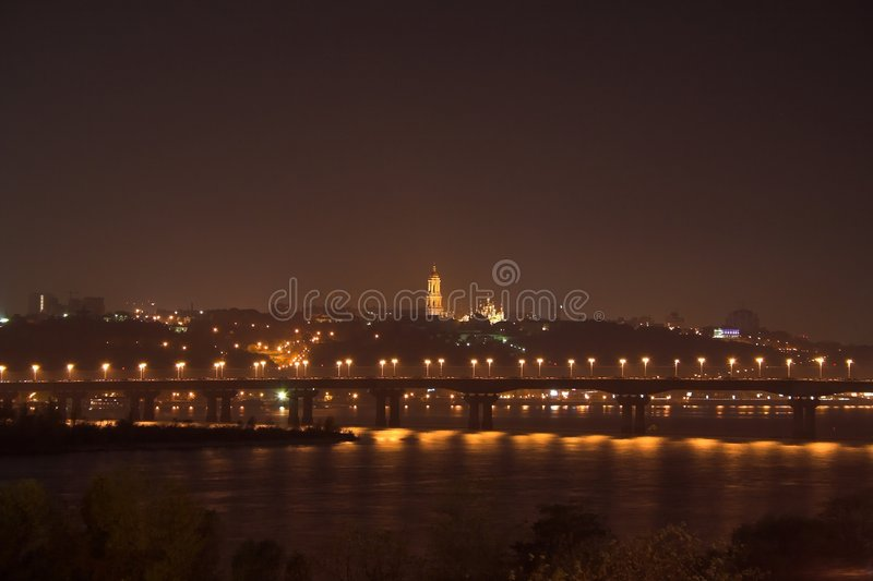 νύχτα του Κίεβου viev στοκ φωτογραφίες