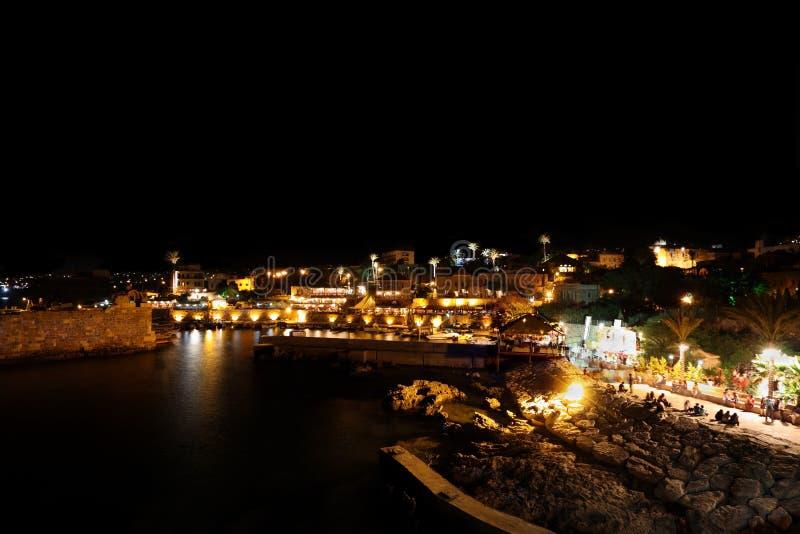 νύχτα του Λιβάνου byblos στοκ εικόνες