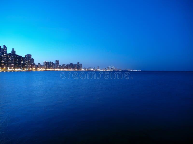 νύχτα του Μίτσιγκαν λιμνών στοκ φωτογραφίες