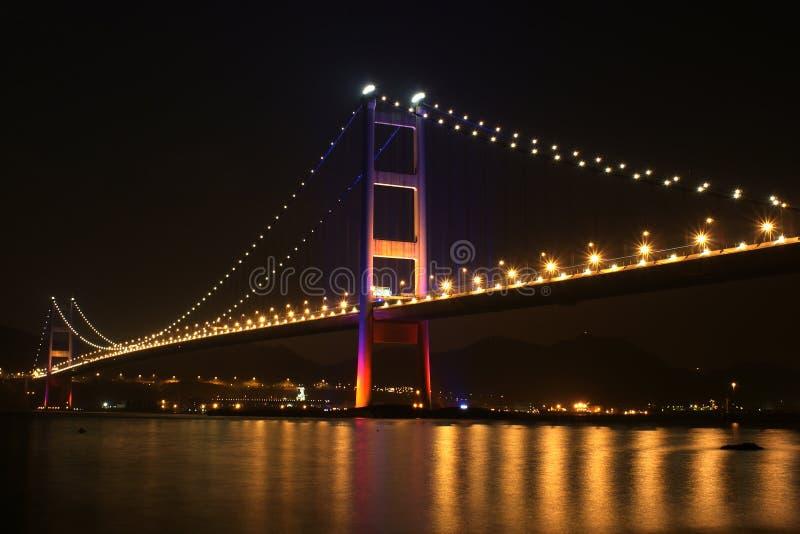 νύχτα του Χογκ Κογκ γεφυρών στοκ εικόνα με δικαίωμα ελεύθερης χρήσης