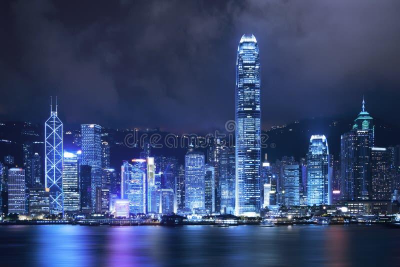 νύχτα του Χογκ Κογκ πόλεων στοκ φωτογραφίες με δικαίωμα ελεύθερης χρήσης