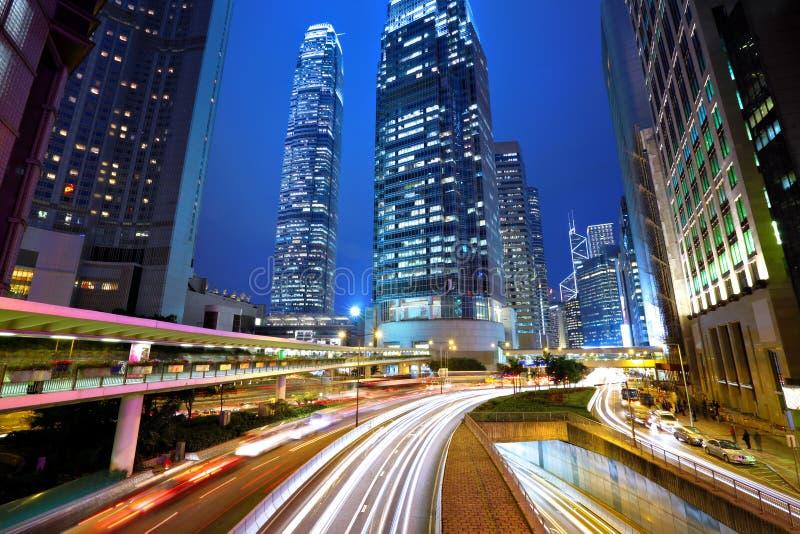 νύχτα του Χογκ Κογκ πόλε& στοκ εικόνα