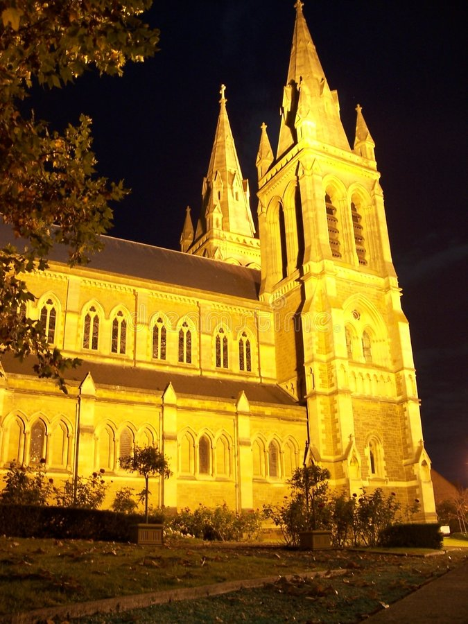 νύχτα του Erie εκκλησιών στοκ φωτογραφία με δικαίωμα ελεύθερης χρήσης