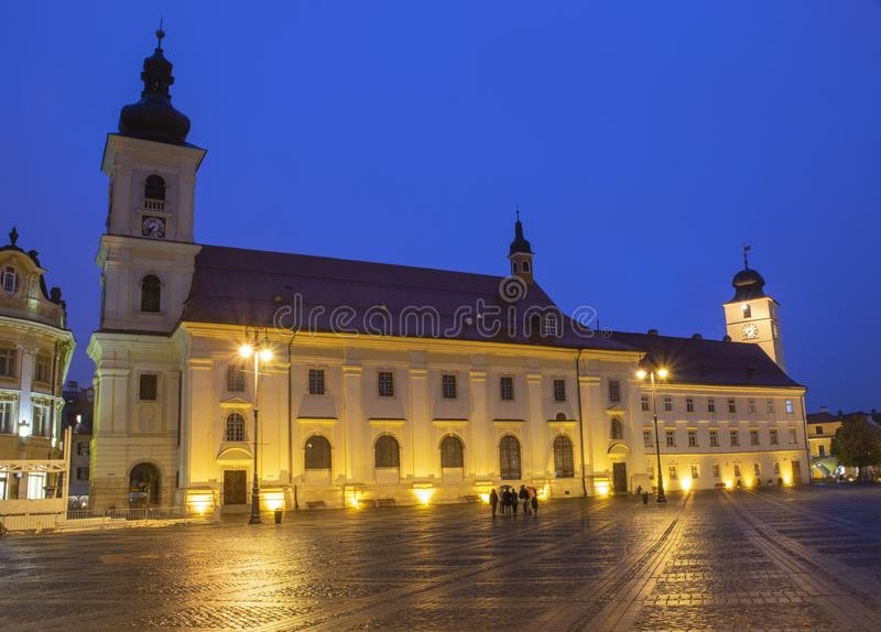Νύχτα του Sibiu αρχιτεκτονικής στοκ εικόνες