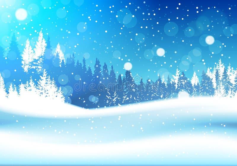 Νύχτα χειμερινών στο δασικό δασόβιο τοπίων μειωμένο υπόβαθρο ξύλων δέντρων πεύκων χιονιού χιονώδες ελεύθερη απεικόνιση δικαιώματος