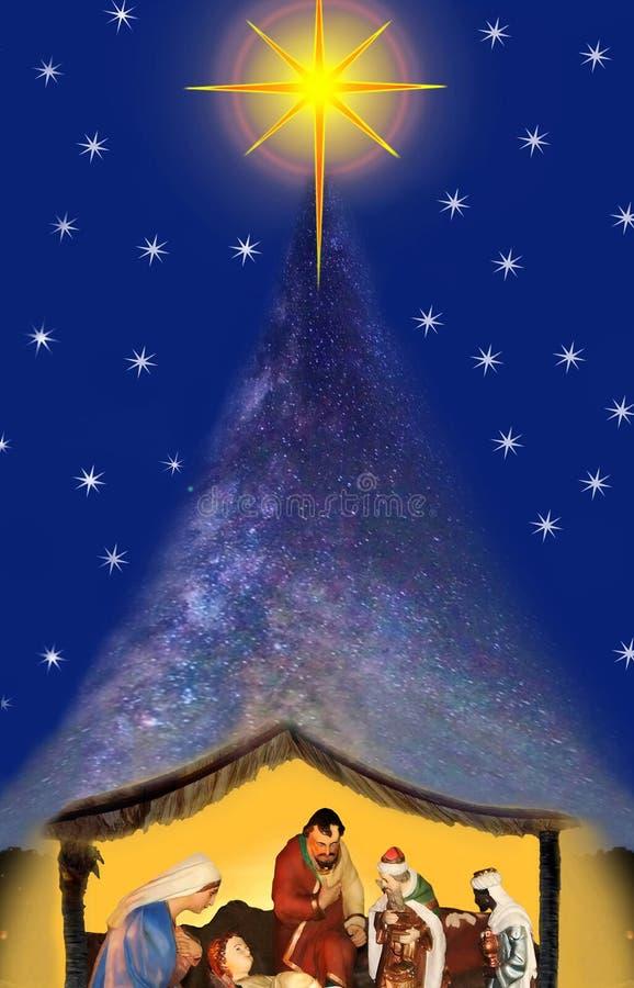Νύχτα Χριστουγέννων θαύματος, σκηνή nativity ελεύθερη απεικόνιση δικαιώματος