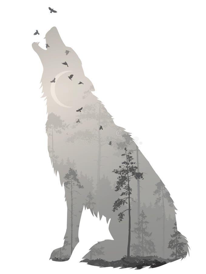 Νύχτα λύκων διανυσματική απεικόνιση
