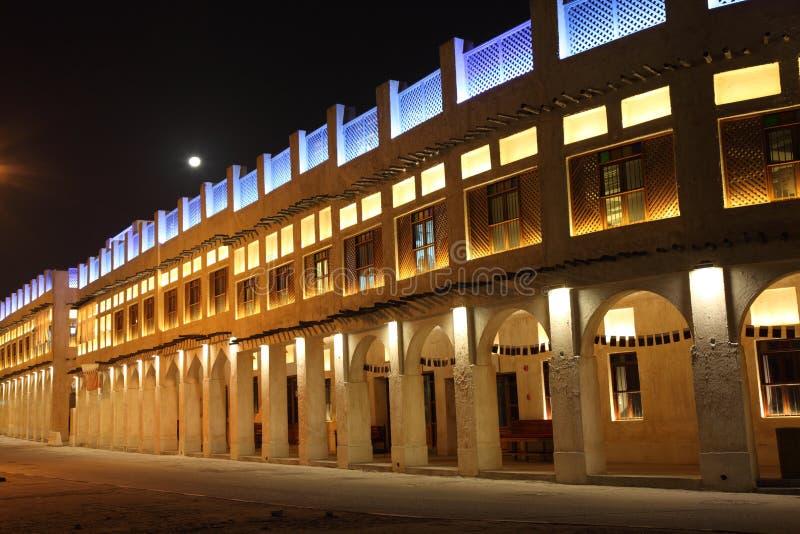 νύχτα doha souq waqif στοκ εικόνα
