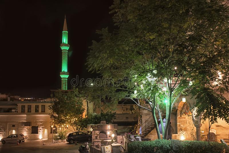 Νύχτα goreme Ανατολία, φύση, τουρισμός της Τουρκίας Cappadocia στοκ εικόνες