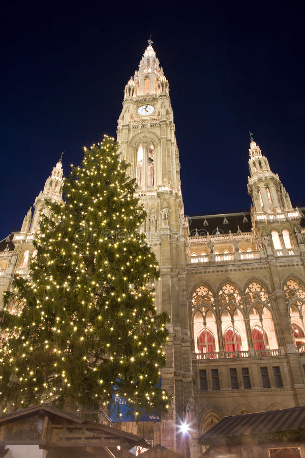 Download νύχτα Townhall Βιέννη αγοράς Χριστ&omic Στοκ Εικόνα - εικόνα από καντίνα, έλξη: 17058583