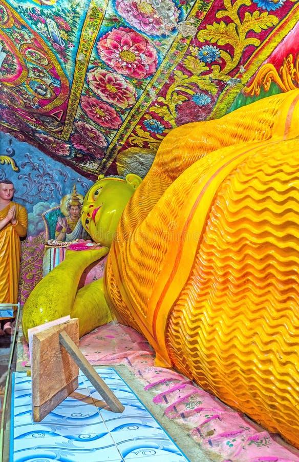 Ξάπλωμα του αγάλματος του Βούδα στο ναό Bogoda, Σρι Λάνκα στοκ φωτογραφία