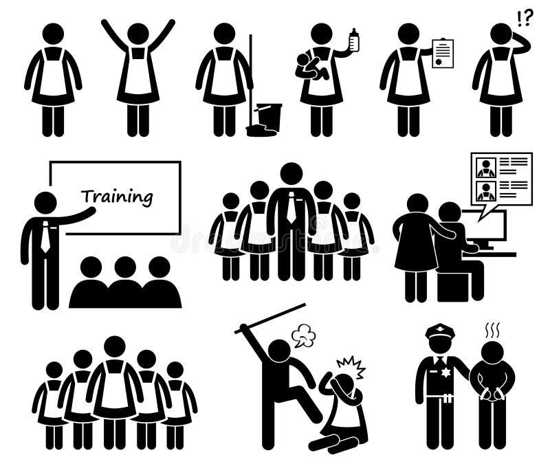 Ξένα εικονίδια Cliparts αντιπροσωπείας κοριτσιών απεικόνιση αποθεμάτων