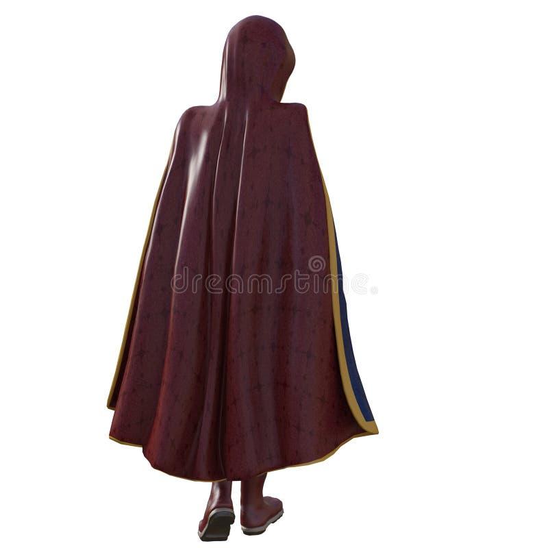 Ξένος σε ένα έξοχο κοστούμι και ένα κόκκινο παλτό διανυσματική απεικόνιση