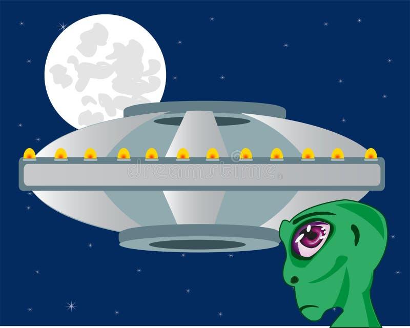 Ξένος σηκών στον ουρανό και το φεγγάρι υποβάθρου απεικόνιση αποθεμάτων