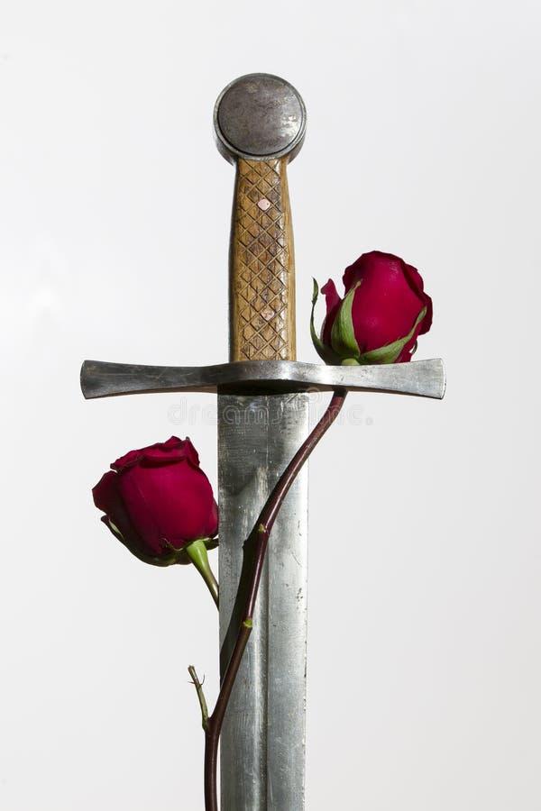 Ξίφος και τριαντάφυλλα στοκ φωτογραφίες με δικαίωμα ελεύθερης χρήσης