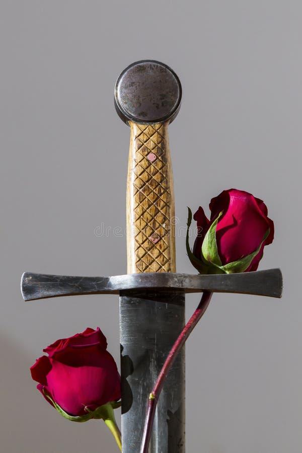 Ξίφος και τριαντάφυλλα στοκ φωτογραφία με δικαίωμα ελεύθερης χρήσης