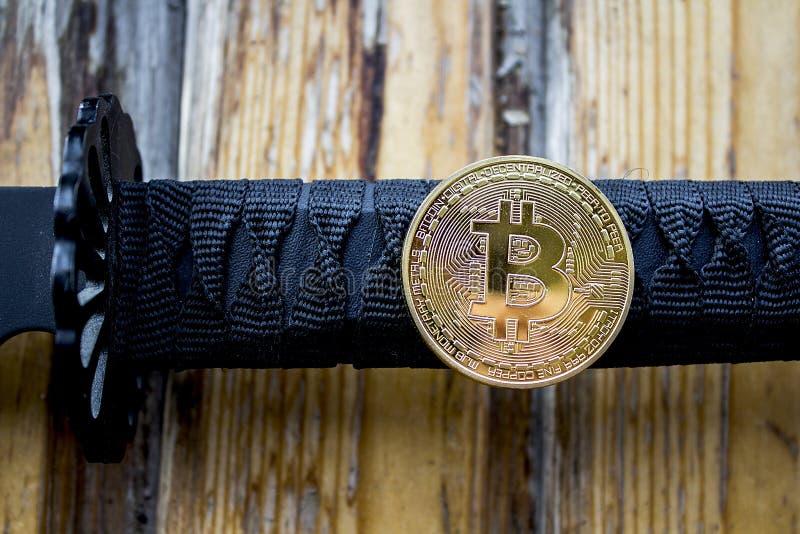 Ξίφος και Bitcoin Σαμουράι στοκ εικόνες