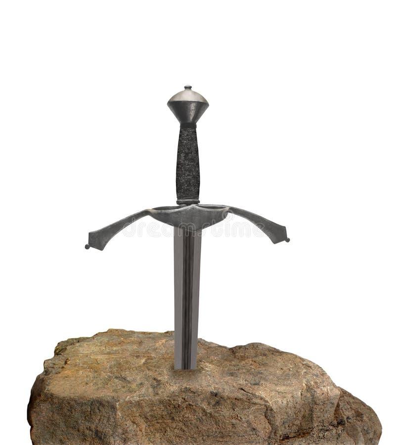 Ξίφος σε μια πέτρα που απομονώνεται. στοκ φωτογραφία