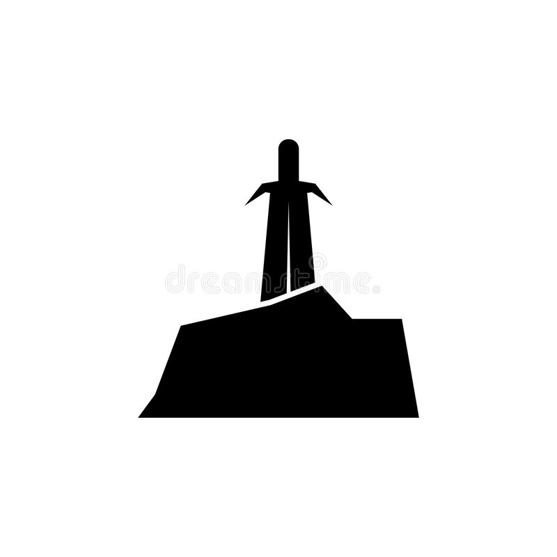 ξίφος στη σκιαγραφία πετρών Στοιχείο της απεικόνισης ηρώων παραμυθιού Γραφικό εικονίδιο σχεδίου εξαιρετικής ποιότητας Σημάδια και απεικόνιση αποθεμάτων