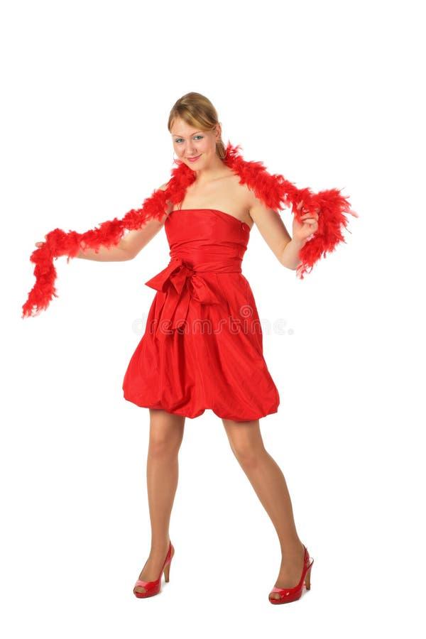 ξανθές boa κόκκινες νεολαί&epsil στοκ εικόνες με δικαίωμα ελεύθερης χρήσης
