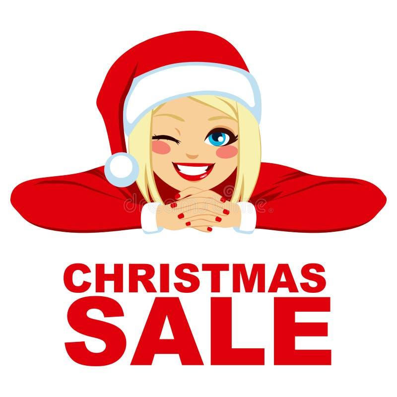 Ξανθή γυναίκα πώλησης Χριστουγέννων ελεύθερη απεικόνιση δικαιώματος