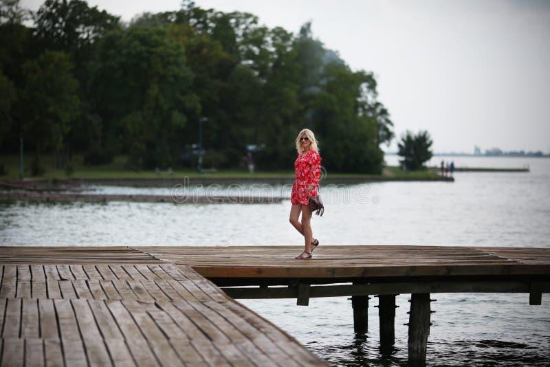 Ξανθή γυναίκα στη γέφυρα στη λίμνη στοκ εικόνες