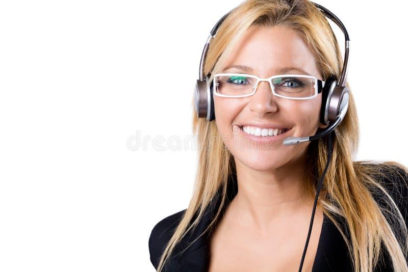 Ξανθή γυναίκα τηλεφωνικών κέντρων με την κάσκα στοκ εικόνα με δικαίωμα ελεύθερης χρήσης
