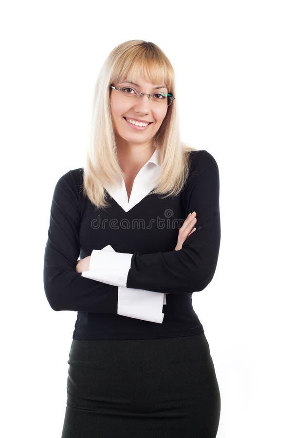 ξανθή επιχειρησιακή γυναίκα σε ένα λευκό στοκ φωτογραφία