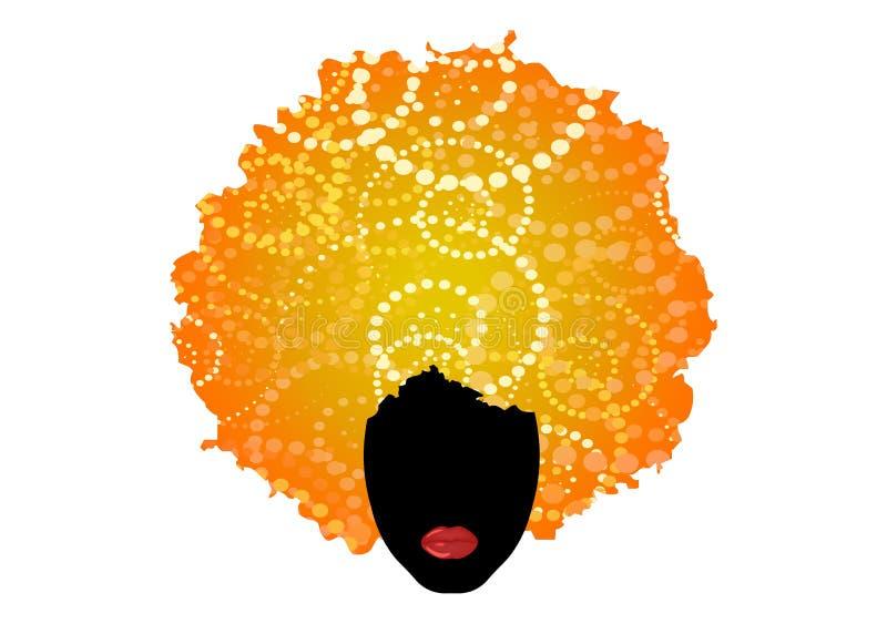 Ξανθή σγουρή τρίχα afro, αφρικανική γυναίκα πορτρέτου, σκοτεινό θηλυκό πρόσωπο δερμάτων και προκλητικά κόκκινα χείλια Κεντρική έν απεικόνιση αποθεμάτων
