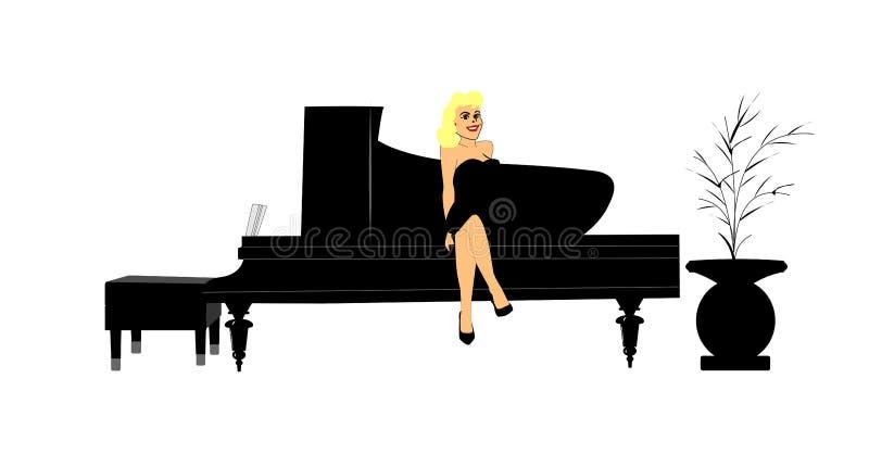 Ξανθή συνεδρίαση στο πιάνο ελεύθερη απεικόνιση δικαιώματος