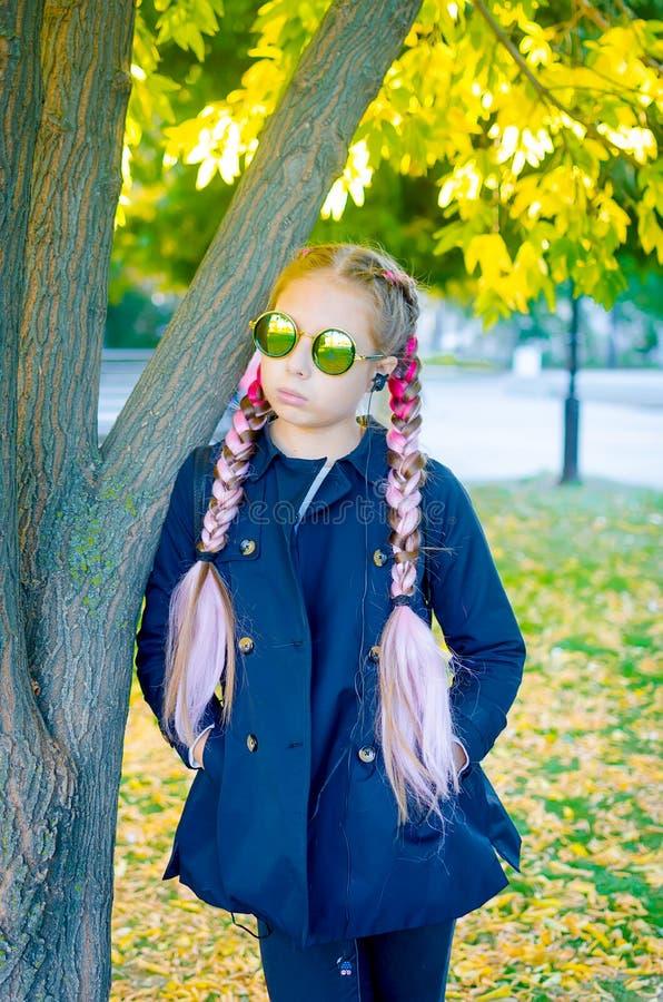 Ξανθή φθορά κοριτσιών γυαλιά ηλίου με το ρόδινο kanekalon στην τρίχα μέσα στοκ φωτογραφίες με δικαίωμα ελεύθερης χρήσης
