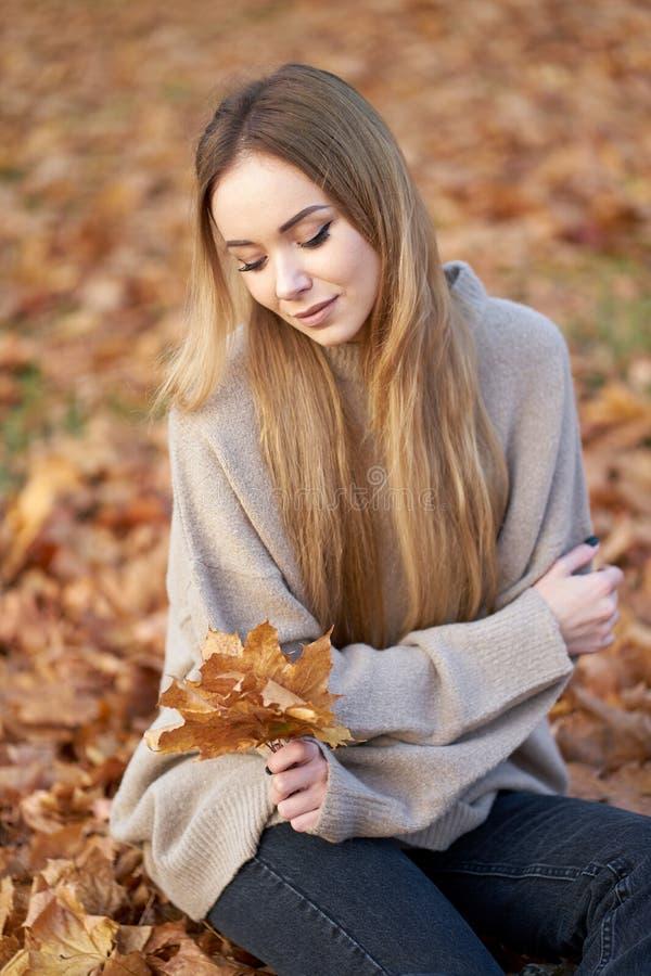 Ξανθιά νεαρή κοπέλα με όμορφα μακριά μαλλιά, φορώντας μοντέρνα ζαρζού πουλόβερ κρατώντας ένα μπουκέτο από φύλλα σφενδάμνου στο χέ στοκ φωτογραφίες με δικαίωμα ελεύθερης χρήσης
