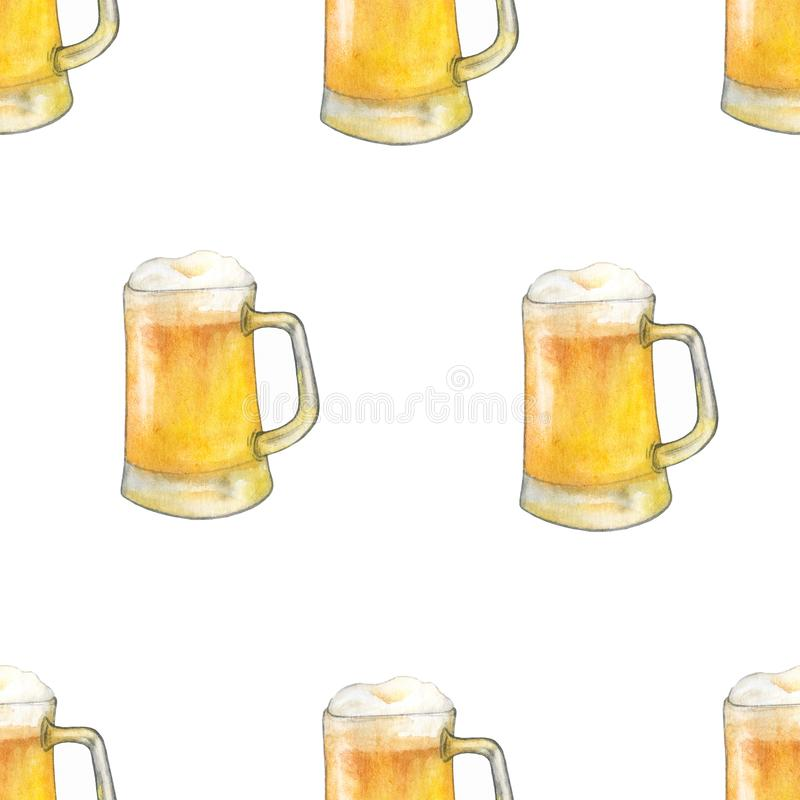 Ξανθός γερμανικός ζύθος σχεδίων Watercolor witj Παραδοσιακά ποτά ελεύθερη απεικόνιση δικαιώματος